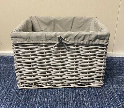 IMPERFECT Grey Wicker Basket Fully Lined Handmade Storage • 0.99£