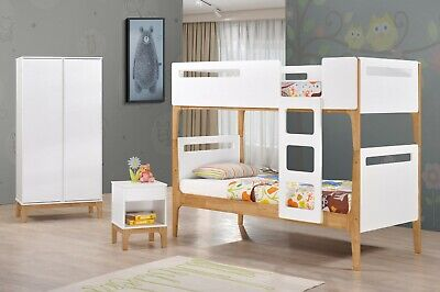 Mason White And Oak Bunk Bed Pine Bunk Bed Solid Wood 3ft Single Bed • 299.99£