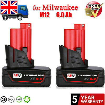 £28.99 • Buy 2PACK Replace For Milwaukee M12B6 48-11-2460 LITHIUM 6.0 Battery 12V Drill Tool