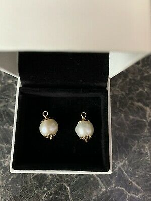 Pandora 14k Gold White Freshwater Cultured Pearl Drops 250412P • 115£