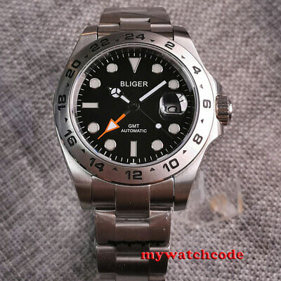 $ CDN108.57 • Buy 43mm Bliger Black Dial Sapphire Glass GMT Date Automatic Mens Watch Silver Bezel