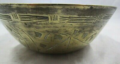 Small Vintage Chinese Brass Bowl With Engrave Symbols. • 3.99£