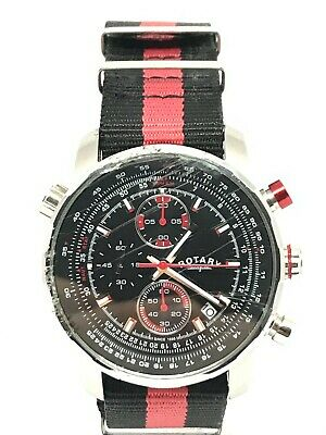 Rotary Gents GS03641/04 Military Chrono Sports Watch New Black Leather Strap • 12.50£