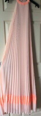 Ladies Size 1 Ted Baker Full Length Sleeveless Pleated Dress In Flesh Peach Pink • 29£