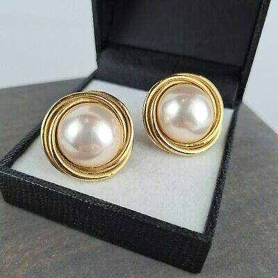 Vintage 80s Gold Tone Pearl Round Large Clip On Earrings Chunky Power Dress • 9.99£