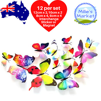 AU4.35 • Buy 12 Piece 3D Butterfly Wall Stickers Removable Decals Magnet Kids Nursery Wedding
