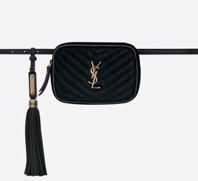 AU927.91 • Buy Saint Laurent YSL Monogram Black Velvet Quilted Lou Camera Belt Bag - NEW