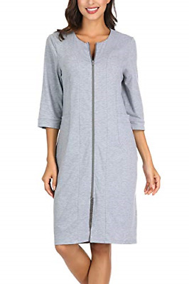 Zexxxy Womens Dressing Gown Slim Fit Zip-Front Cotton Robe Zipper Bathrobe Grey • 29.63£
