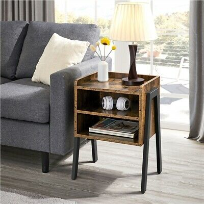 Sofa Side Table End Table Stackable Bedside Table With Metal Frame, 2 Storages • 39.99£
