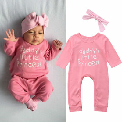 Newborn Baby Girl Bowknot Romper Bodysuit Jumpsuit Headband Outfits Clothes UK • 8.59£
