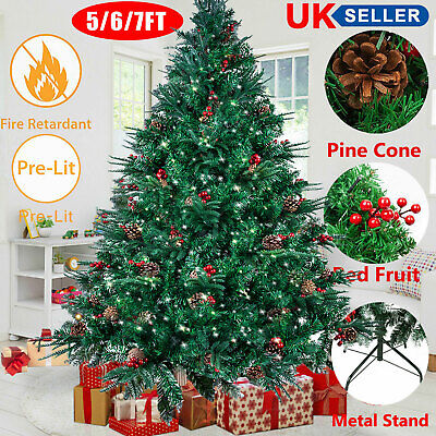 5/6/7FT Artificial Green Christmas Tree Metal Stand Bushy Pine Branches Outdoor • 49.99£