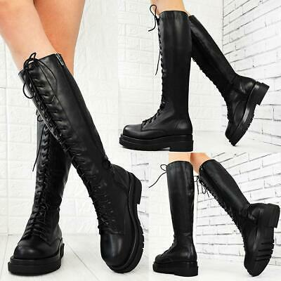 £27.99 • Buy Womens Designer Platform Sole Boots Lace Up Calf Winter Chunky Fashion Shoes New