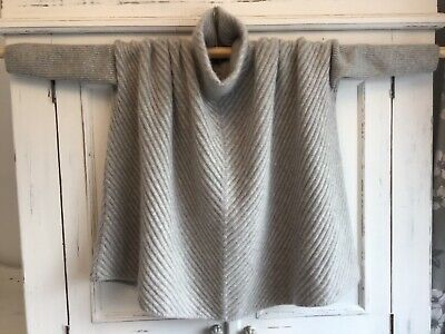 "N PEAL PURE CASHMERE LUXURY RIBBED GREY OVERSIZED PONCHO JUMPER ""One Size"" NEW • 82£"
