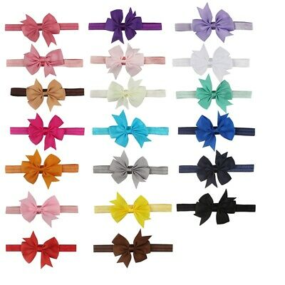Baby Girl Elastic Bow Hair With Children Hair Band Baby Color Cute Bow Head T9G9 • 4.32£
