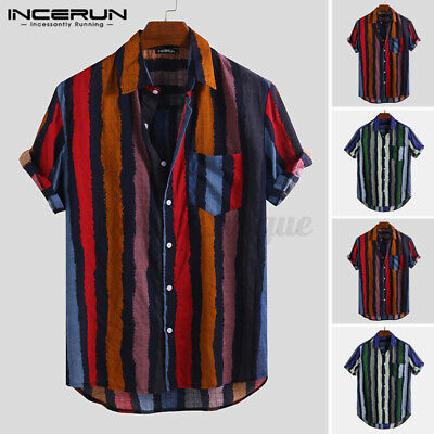 AU25.96 • Buy Mens Vintage Striped Fancy Tops Short Sleeve Striped Retro Shirts Party Tops Tee