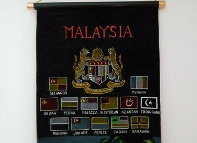 VINTAGE MALAYSIA WALL HANGING SCROLL Includes State Flags; Highly Decorative • 4.50£