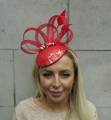 Red Gold & Cream Feather Beaded Fascinator Pillbox Hat Wedding Races Pearl U1 • 43.95£