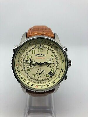 Rotary Gents GS03447/08 Sports Chronograph Watch Original Brown Leather Strap • 12.60£