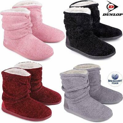 Ladies Slippers Women Dunlop Memory Foam Fur Thermal Ankle Boots Warm Shoes Size • 16.95£