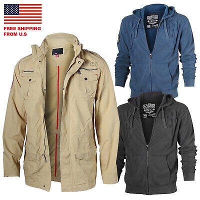 $9.99 • Buy Men's Military Safari Cargo Thin Zip Up Jacket And Thermal Hoodie With Lining