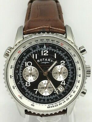 Rotary GS03351/19 Gents Stainless Steel Chronograph With Brown Leather Strap • 26£