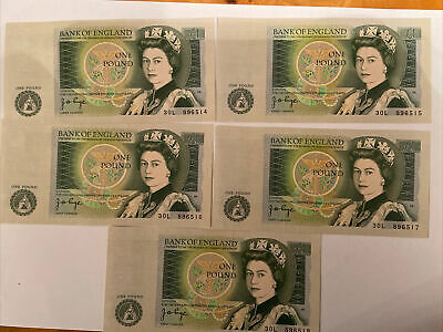 £1 Pound Note 1978-1984 Series D Uncirculated Consecutive Numbers FREE P&P • 5£