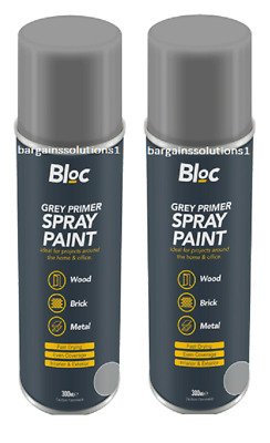 2 X Bloc Grey Primer Aerosol Spray Paint Can Cars Wood Metal Walls - 300ml • 6.85£