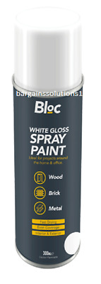 Bloc White Gloss Aerosol Spray Paint Can Cars Wood Metal Walls Graffiti - 300ml • 5.65£