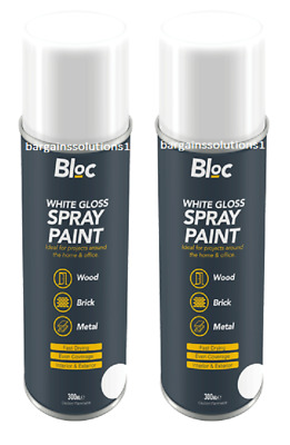 2 X Bloc White Gloss Aerosol Spray Paint Can Cars Wood Metal Walls - 300ml • 6.85£
