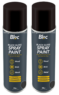 2 X Bloc Black Gloss Aerosol Spray Paint Can Cars Wood Metal Walls - 300ml • 6.85£