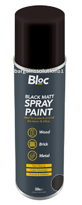 Bloc Black Matt Aerosol Spray Paint Can Cars Wood Metal Walls Graffiti - 300ml • 25.65£