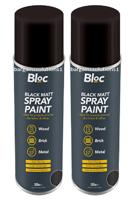 2 X Bloc Black Matt Aerosol Spray Paint Can Cars Wood Metal Walls - 300ml • 36.85£