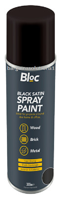 Bloc Black Satin Aerosol Spray Paint Can Cars Wood Metal Walls Graffiti - 300ml • 25.65£