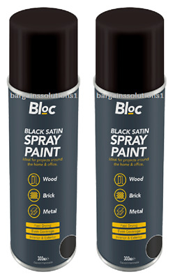 2 X Bloc Black Satin Aerosol Spray Paint Can Cars Wood Metal Walls  - 300ml • 36.85£