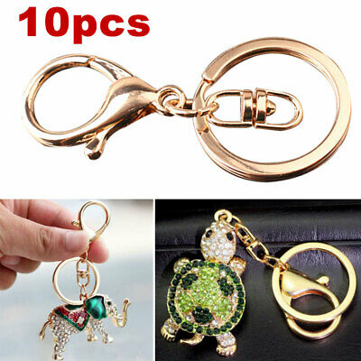 10X Swivel Lobster Clasp Gold Split Ring DIY Keychain Trigger Clip Key Ring • 4.45£