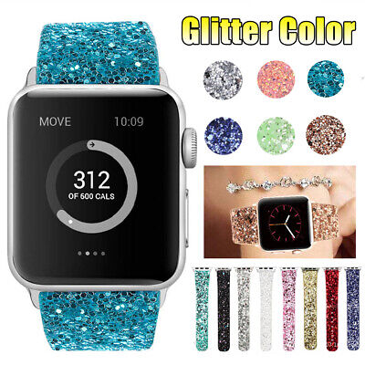 AU26.99 • Buy 3D Women Glitter Bling Leather Watch Band Strap For Apple Watch 38 40 42 44mm