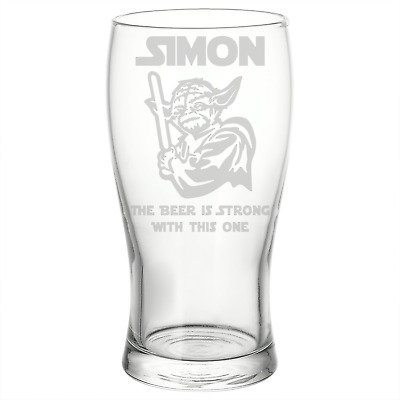 Personalised Star Wars Style Yoda Beer Pint Glass Perfect Birthday Gift • 8.50£