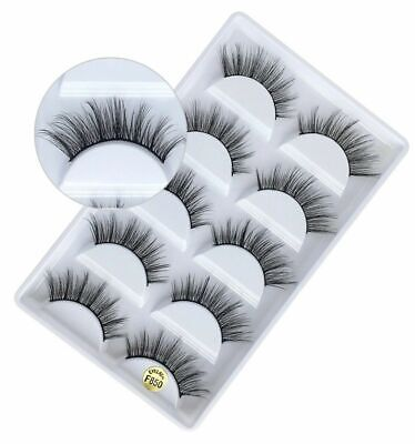5 Pairs 3D Mink False Eyelashes Long Thick Natural Half Fake Eye Lashes Set • 2.63£