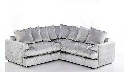 Crushed Velvet Living Room Corner Sofa Brand New Sale 5 Colours Left Right Hand • 554.99£