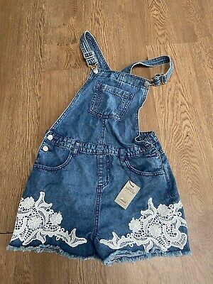 Stunning Girls 'denim Co' Dungarees. Pretty White Lace. Age 13-14 Years • 6£