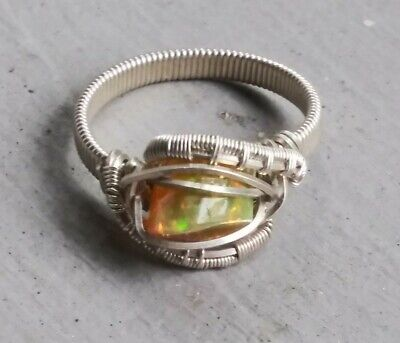 £64.73 • Buy Sterling Silver Wire Wrapped Rough Cut Mexican Fire Opal Ring Size 6 Steampunk