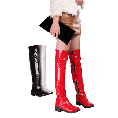 Women Block Low Heel Go Go Knee High Boots Patent Leather Dance Riding New • 28.69£
