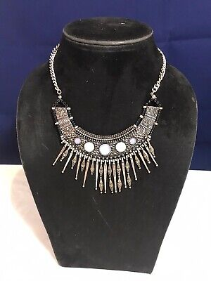 Statement Necklace Costume Jewellery Metallics And Blues • 9.50£