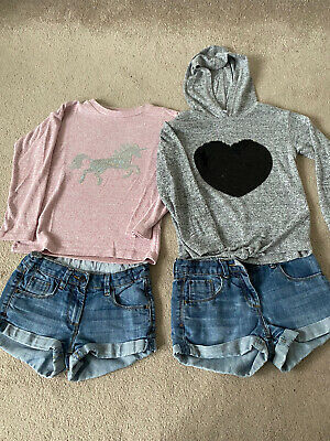 Girls Shorts And Jumpers Bundle Age 8-9 M&S, Bluezoo, Primark • 2£