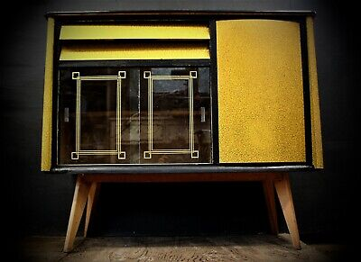 1950's/ 60's Yellow & Black Vintage Formica Sideboard, Kitchen, Drinks Cabinet. • 385£