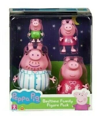Peppa Pig Bedtime, Family Figure Pack Inc Peppa George Daddy Mummy For Age 3+ • 15.65£