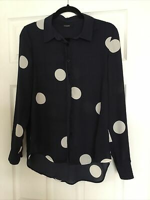 Marks And Spencer Autograph Navy And Ivory Spotty Blouse Top Size  12 • 4.99£