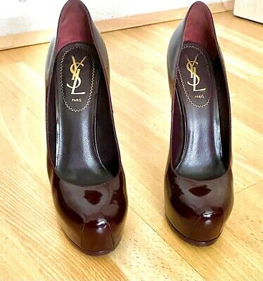 YSL Tribute, Heels Size 37.5, Burgundy Patent, Excellent Condition • 71£