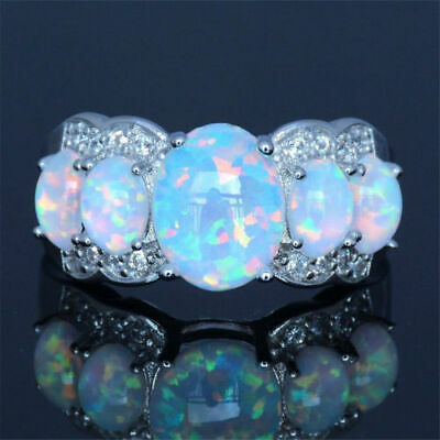 925 Silver Filled Antique Design 5 Stone White Opal Style Ring Size R 3/4 • 7.99£
