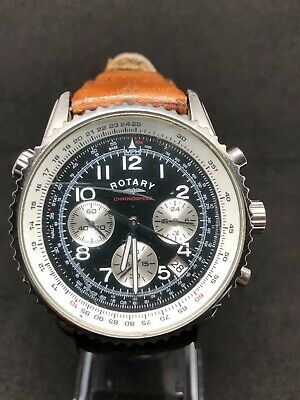 Rotary GS03351/19 Gents Stainless Steel Chronograph Watch Brown Leather Strap • 8£